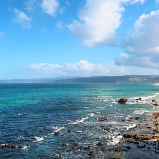 ocean views from split point lighthouse in aireys inlet victoria australia, australia's shipwreck coast