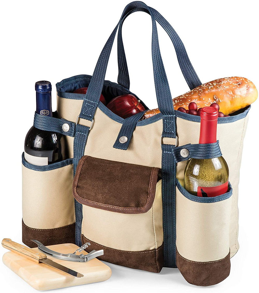 Wine and cheese picnic tote bag with room for food, two bottles of wine and that comes with a cheese knife corkscrew and a cutting board