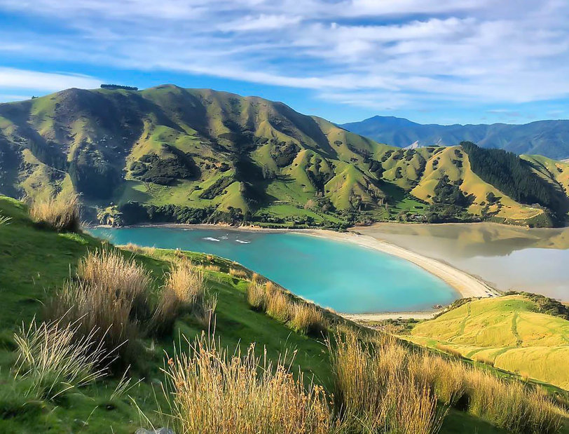 Hike, Tramp, Cable Bay, South Island, New Zealand, Travel, Mountain, Lake, Blue Sky, Rolling Hills, Discover