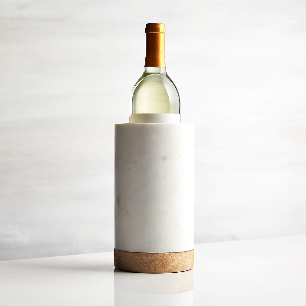 mango wood and grey and white marble wine chiller from crate & barrel