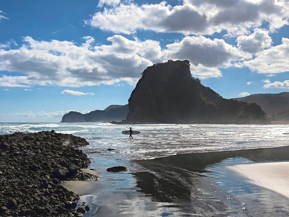 Black sand beaches of new Zealand near Auckland in north island, piha beach, lion rock, surfer's paradise