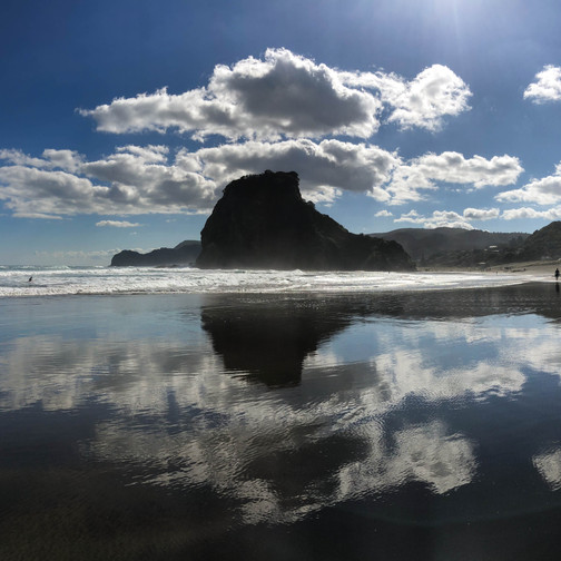 lion rock at piha beach and its reflection in the sand and water, volcanic eruptions in new zealand
