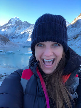 Allison Allie Albanese hiking alone at Mount Cook in South Island New Zealand during winter, solo traveler, discover, mountains, snow, blue eyes, travel writer, adventure, Parade Magazine, discover, dine, drink, inspiration