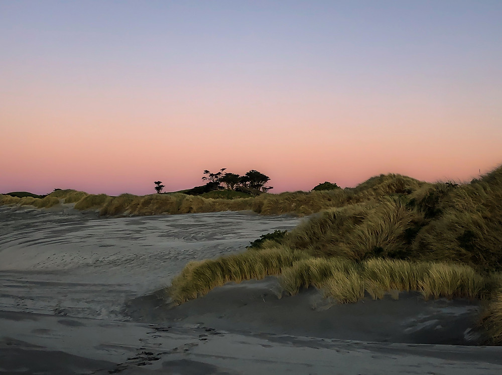 pink sunset on the beach in st. simons island with seagrass,  spotify summer playlist,