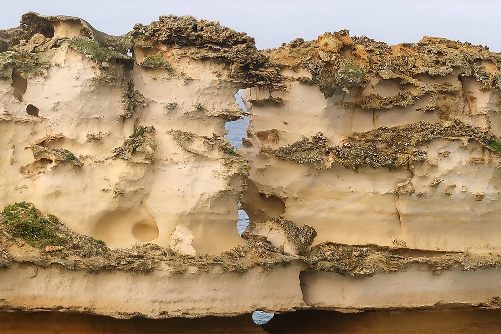 coastal evolution, the effects of water erosion, what causes rock formations to collapse, the changing landscape of Australia's Great Ocean Road
