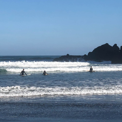 where to surf in new zealand, surfers at piha beach