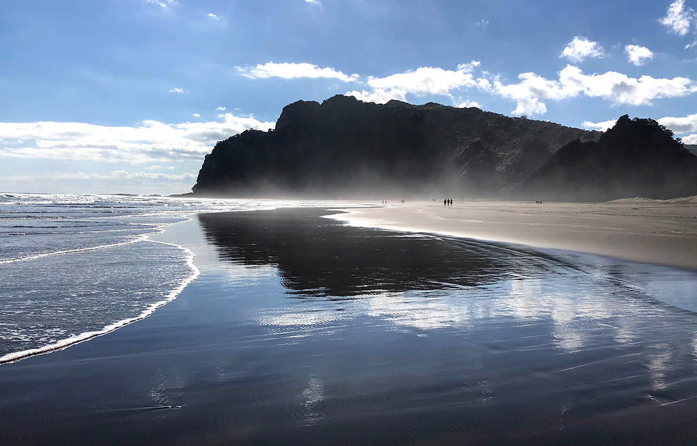 Black sand beaches of new Zealand near Auckland in north island, karekare beach, where the Oscar-winning movie the piano was filmed, Waitakere Ranges Regional Park