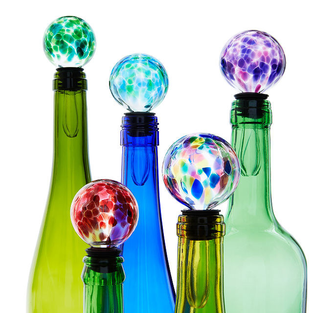 colorful handmade glass wine bottle stoppers made for each birthstone, stocking stuffers for the wine lover in your live