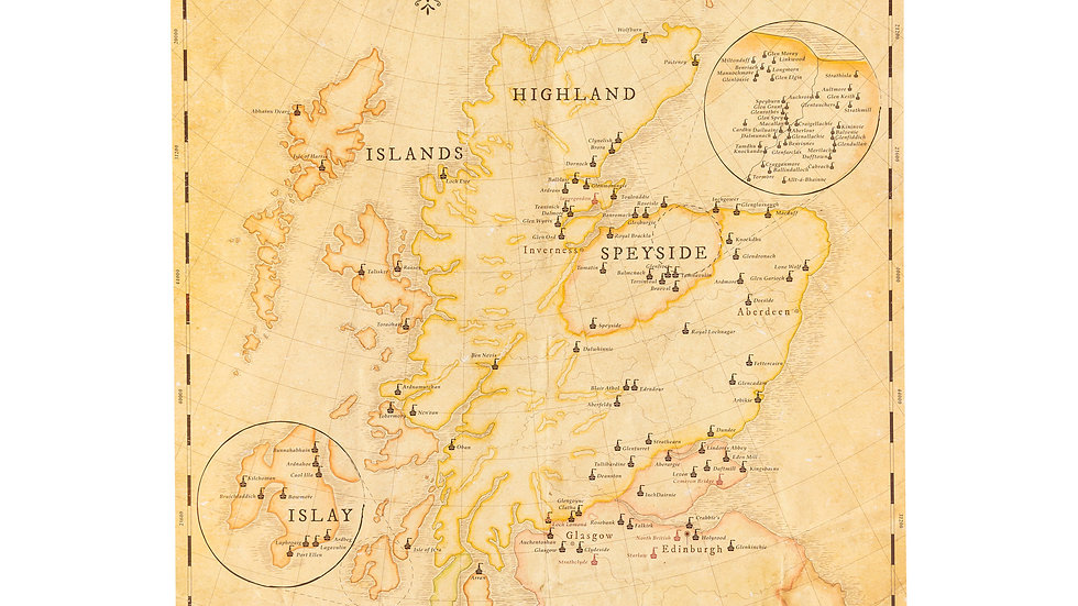 Poster DIN A2 - Scotland - The active Malt and Grain Distilleries