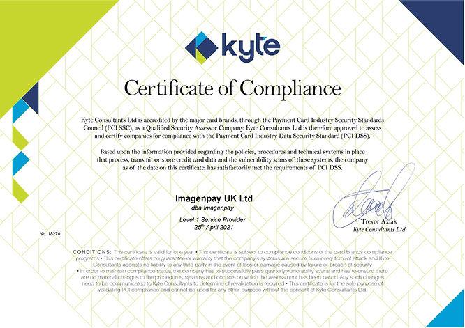 Imagenpay UK Ltd certificate for 2021-pa