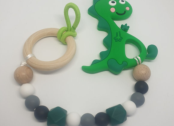 Green dino teether