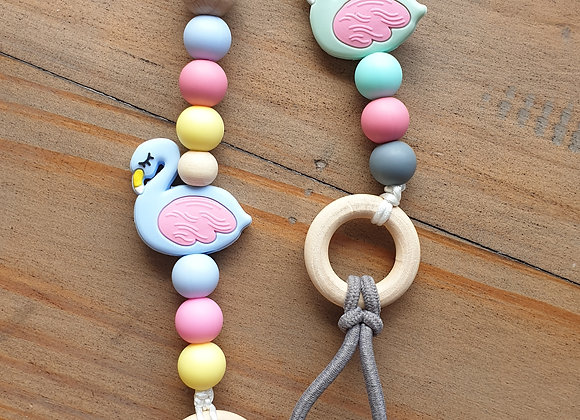Flamingo pacifier or food teether holder