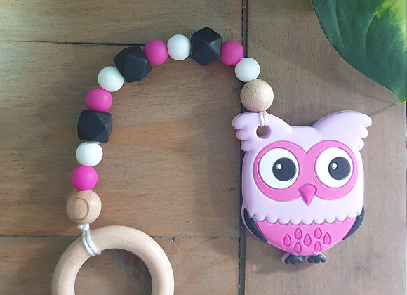 Pink owl teether