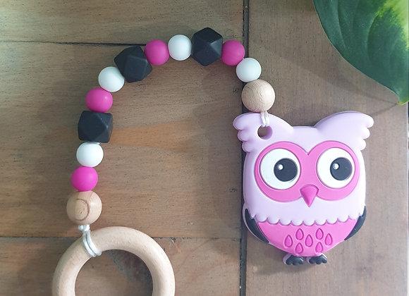 Pink owl teether