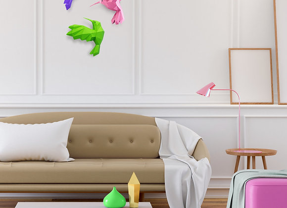 Origami Hummingbird wall art