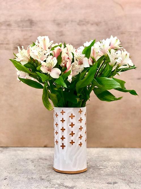 White Swiss Cross Vase