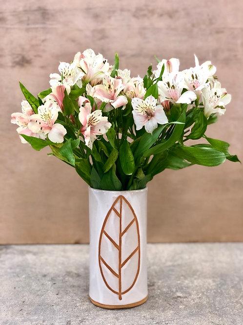 White Leaf Vase