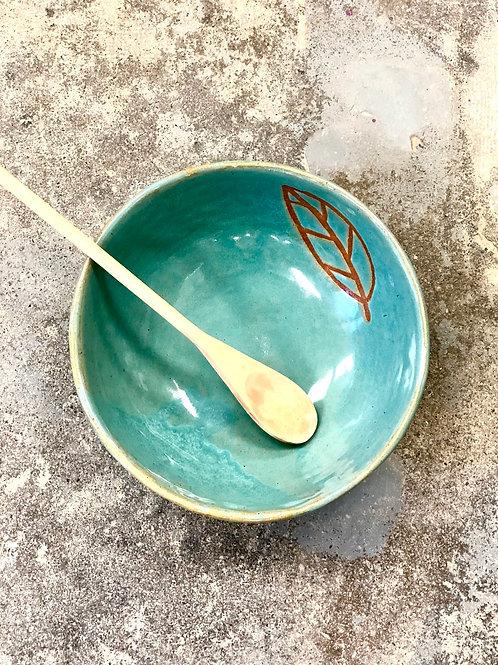 Turquoise leaf serving bowl