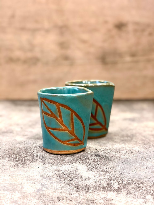 Turquoise leaf cup