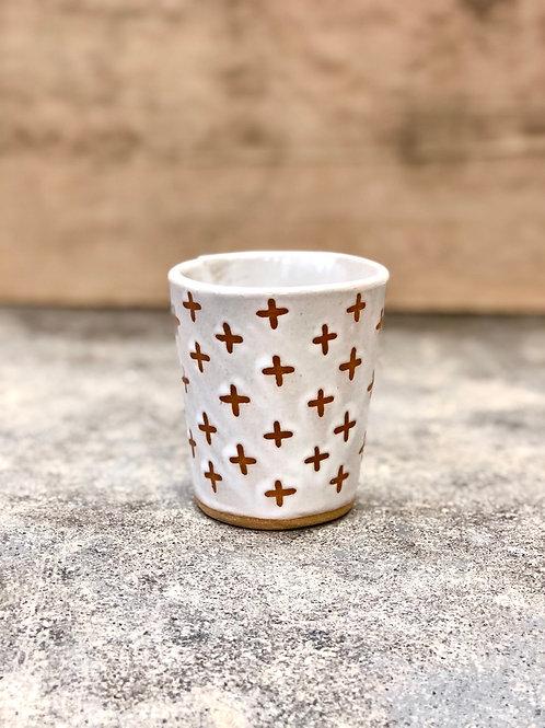 White Swiss cross cup
