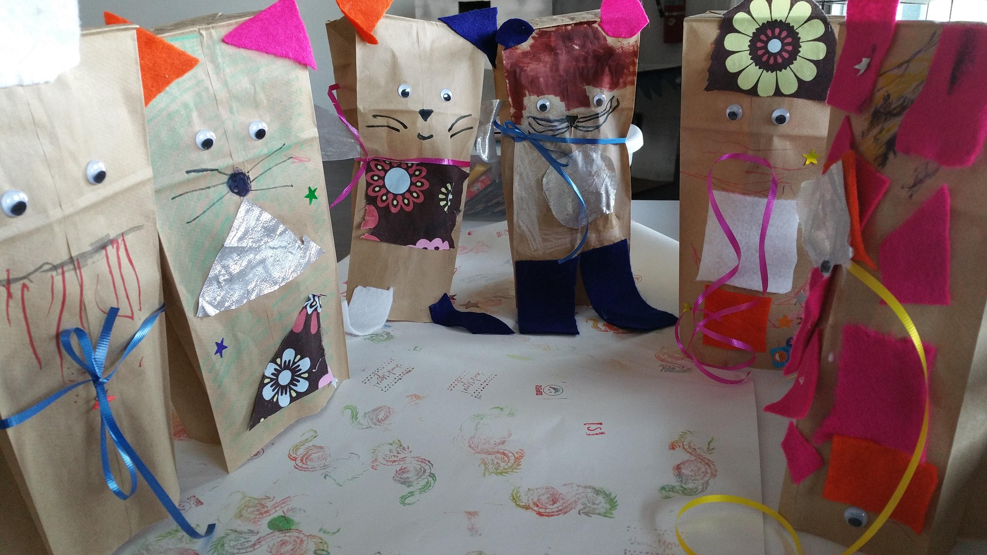 Paper mascots wear pants, too