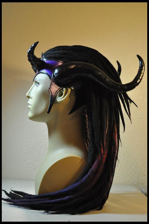 """Horned Headdress w/ Dreads. Black """"Twilight"""""""
