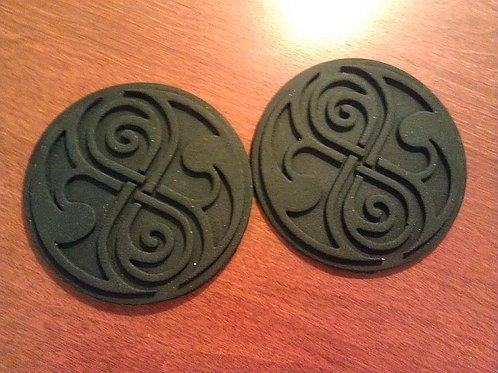 """Seals of Rassilon. Pair. 4"""" diameter. Resin."""