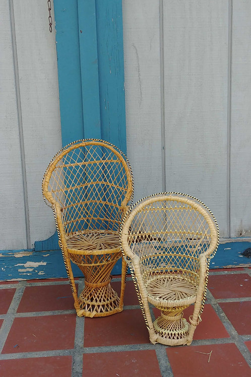 Peacock Doll Wicker Chair