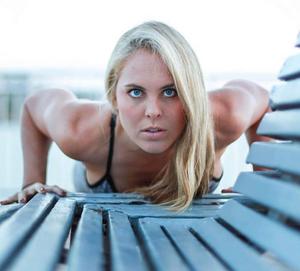 Lauren Schwab doing a push-up