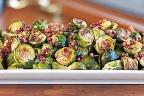 Maple Roasted Brussel Sprouts with Vegan Bacon