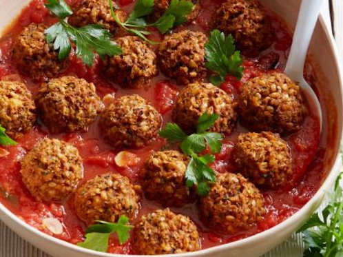 Mushroom and Lentil Balls in Zingy Tomato Sauce