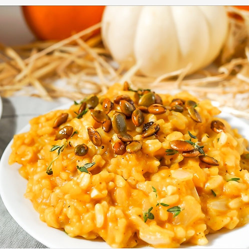 Pumpkin Risotto with Sweet and Spicy Pepitas