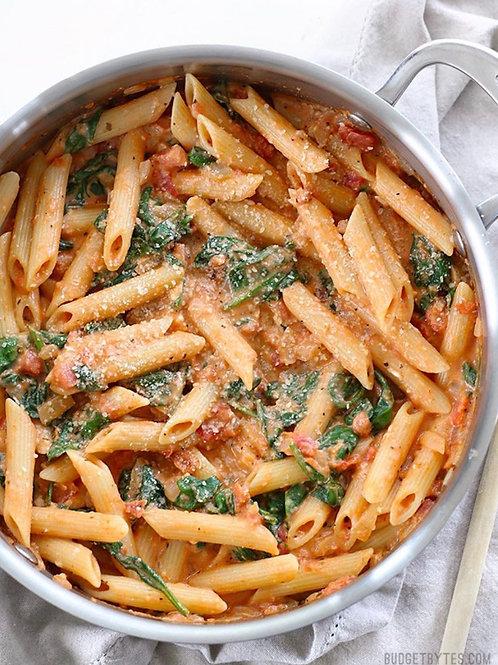 Creamy Tomato, Basil and Spinach Pasta
