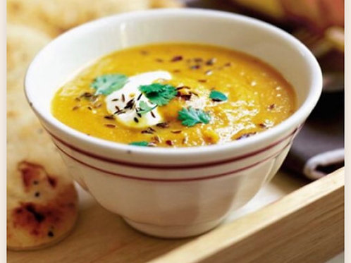 Sweet Potato& Red Lentil Soup with Vegan Sour Cream