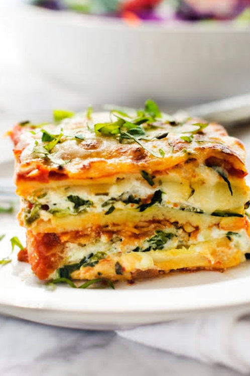 Spinach, Cherry Tomato and Vegan Ricotta Lasagne