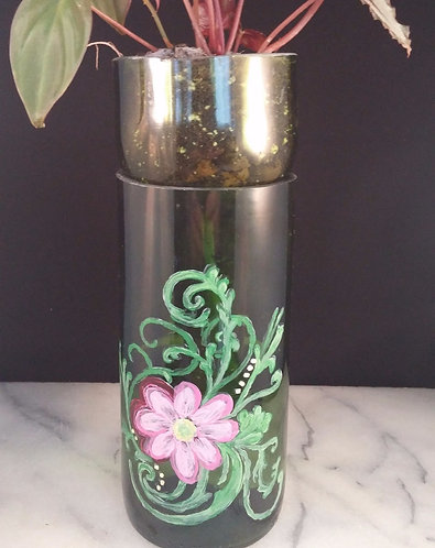 Recycled Wine Bottle Planter, Standard