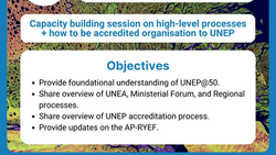 Asia Pacific Youth Capacity Building Webinar on UNEA process, UNEP@50 and regional processes