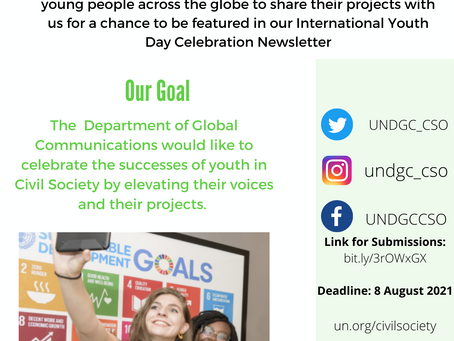 From UNDGC: Call to Civil Society Youth: International Youth Day 2021, Transforming Food Systems