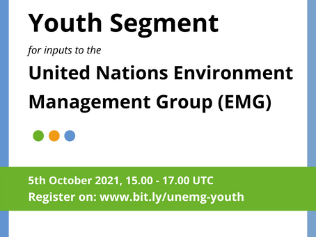 Youth Segment to the UN Environment Management Group (EMG) - Register Now!