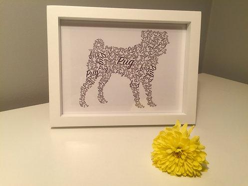 Pug Word Art Print