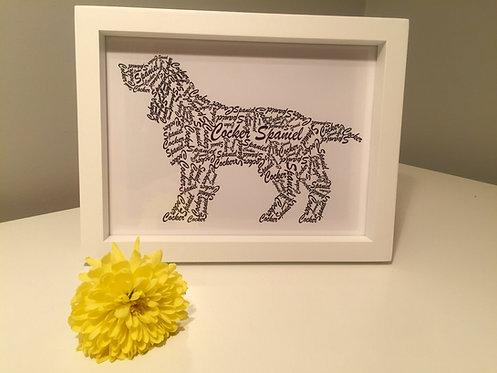 Cocker Spaniel Word Art Print