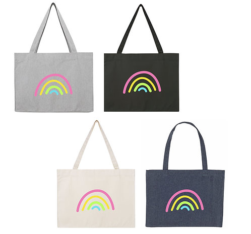 Large Pastel rainbow cotton bag