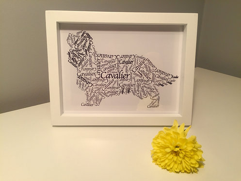 King Charles Cavalier Word Art Print