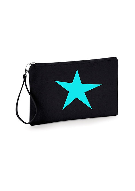 Black star clutch bag