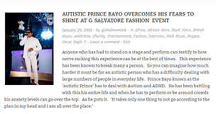 Prince Bayo Global News story for G Salvatore Fashion showcase event