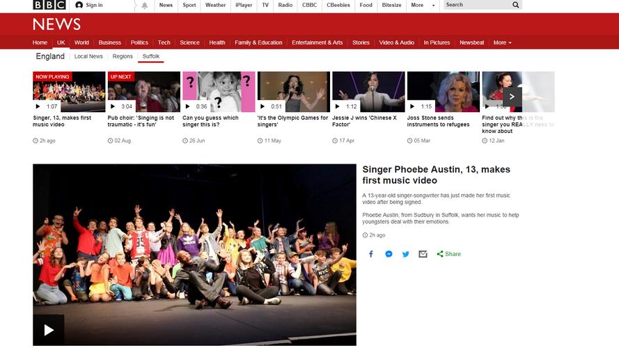 Phoebe Austin makes national news on BBC