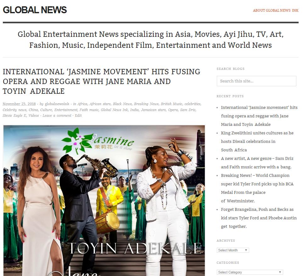 Jasmine - Global News Ink Article
