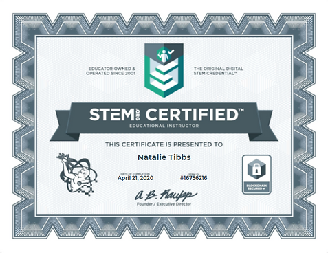 Natalie Tibbs STEM Certificate