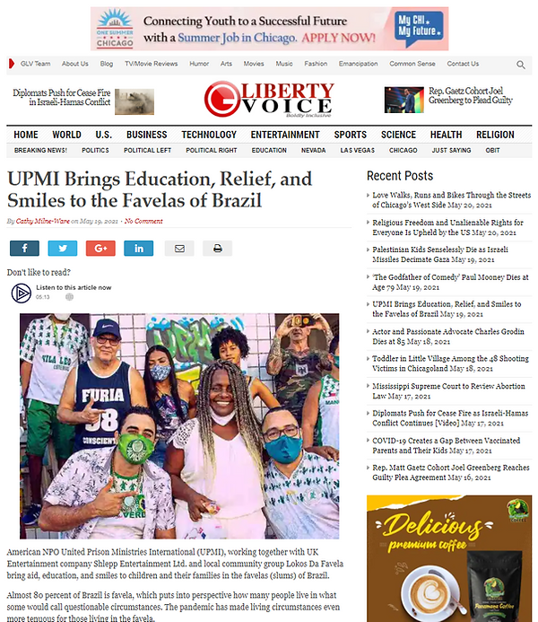 UPMI Favela Event story in the Guardian LV