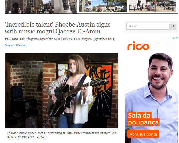 Sudbury More Article - Phoebe signs with Ex Michael Jackson Manager